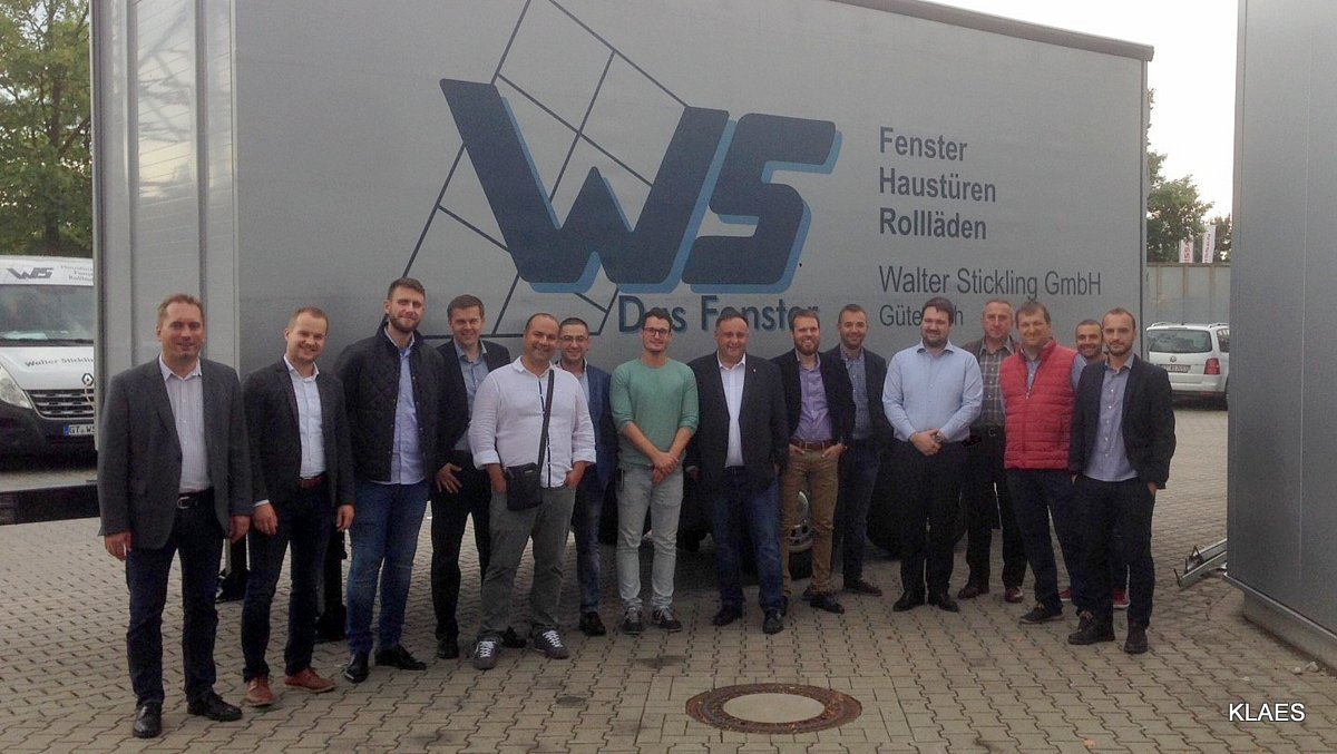 After the very interesting visit at the Walter Stickling GmbH with Maurice Madecki (in the centre, green sweater)