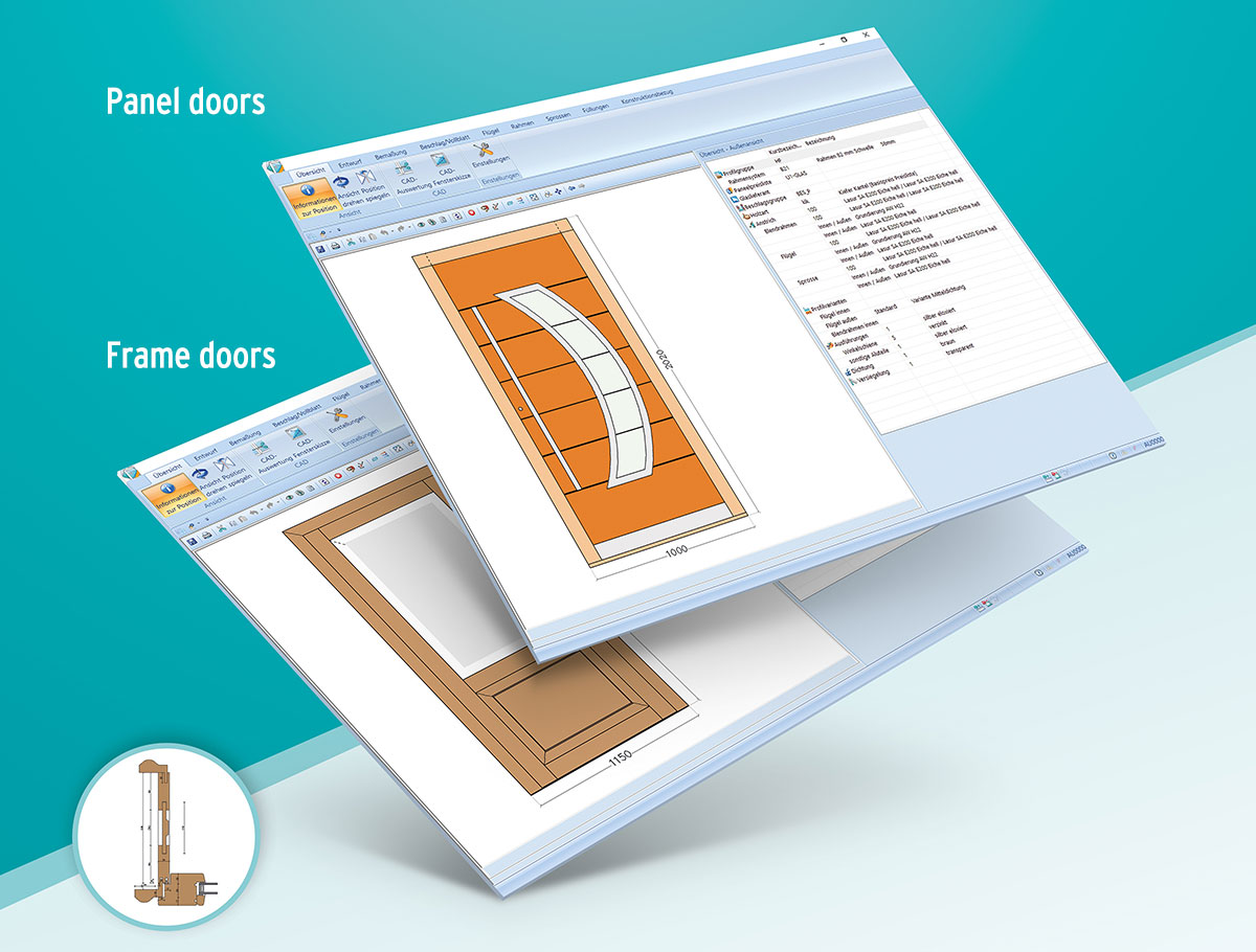 The Klaes DoorDesigner for door- and interior doors of frame- and panel door constructions in all material types